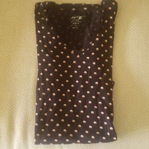Women's Apt 9 Small Black w/Pink Dots T-Shirt